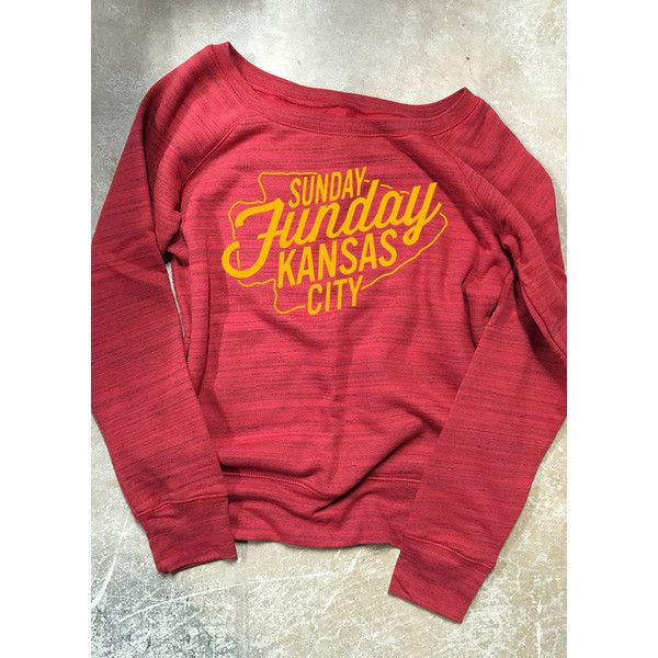 Kc Chiefs Sunday Funday Shirt (€44) ❤ liked on Polyvore featuring tops, red, sweatshirts, women's clothing, shirts & tops, block tops, marble top, acid wash shirt and red shirt