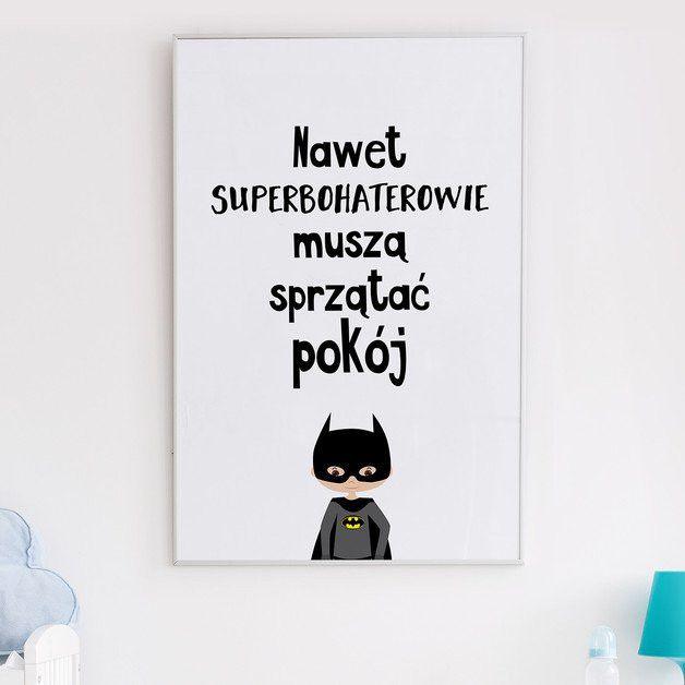 Nawet superbohaterowie muszą sprzątać pokój A4 - lemonducky - Plakaty dla dzieci