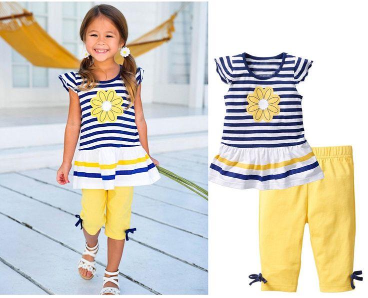 FIX 2017 New Girls Clothing Sets Baby Kids Clothes Suit Children Striped T-Shirt +Pants roupas infantil meninas #Affiliate
