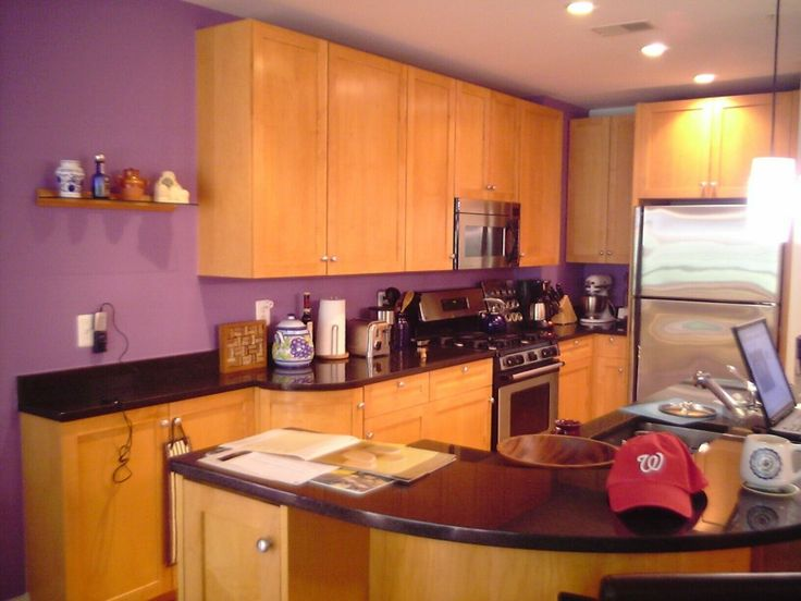Kitchen, Clean Minimalist Purple Maple Kitchen Seet With Rounded Dining  Table : Few Sample Of