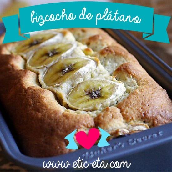 Un delicioso bizcocho de plátano muy muy fácil de hacer.  http://www.etic-etac.com/blog/bizcocho-de-platano/