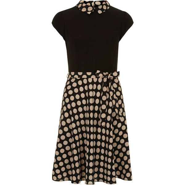 Dorothy Perkins Camel and black spot dress (2.010 RUB) ❤ liked on Polyvore featuring dresses, black, camel, polka dot cocktail dress, dot dress, polka dot print dress, dorothy perkins dresses and polka dot dress