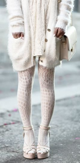 Lace + long white cashmere sweater + white tights + sandals.