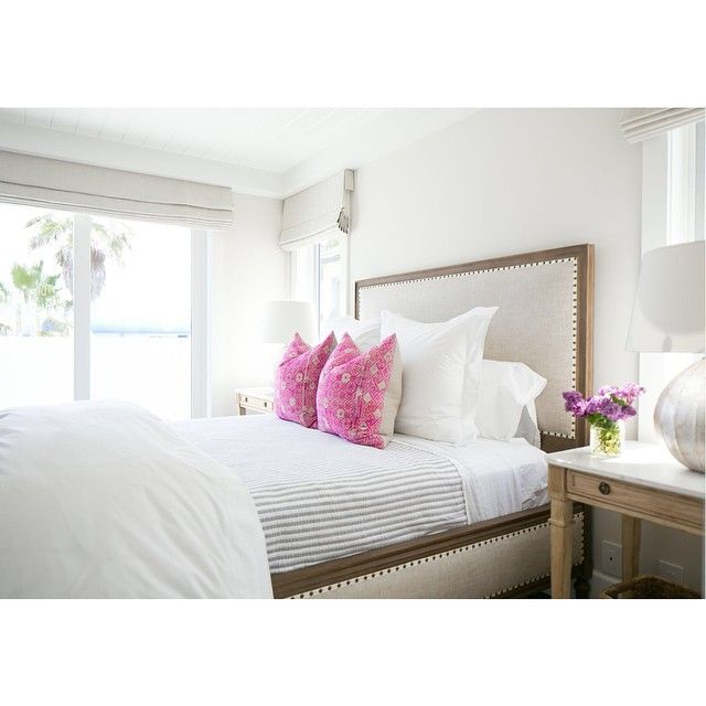 Kelly Nutt Design. Love the side of the bed frame.  This has such a clean look and easy to change the color scheme with just 2 pillows and a flower arrangement.