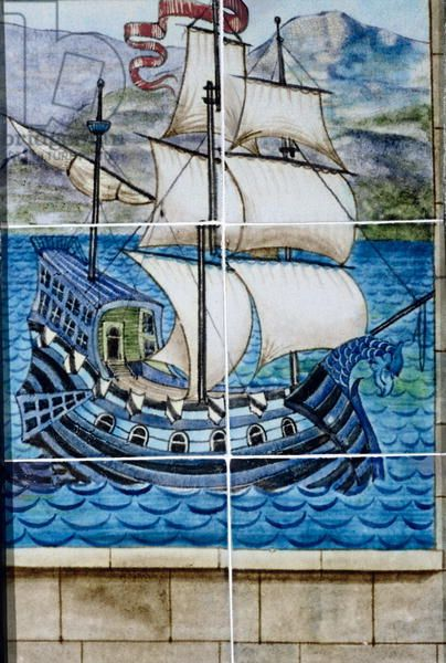 Six tiles depicting a galleon (ceramic)