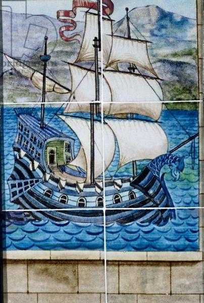 Six tiles depicting a galleon (ceramic)
