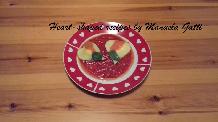 tri color heart shaped ravioli