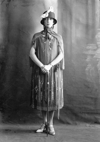 This photograph shows Florence Broadhurst, who was to become one of Australia's best-known designers. The location of the photograph is unknown, but Florence's hat and dress make it likely to have been taken at some time during the heady days of her youth in the 1920s. She is holding a cane, which may indicate that the photograph was taken during her time as a dancing instructor in Shanghai. #FlorenceBroadhurst #Wallpaper www.florencebroadhurst.com.au
