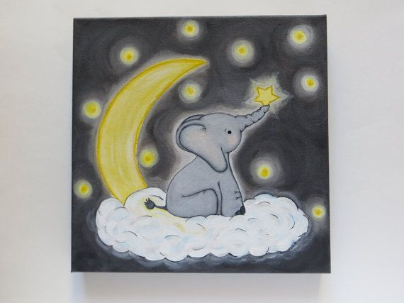 Acrylic+painting+kids+wall+art+elephant+and+star+by+Waterblooms,+$105.00