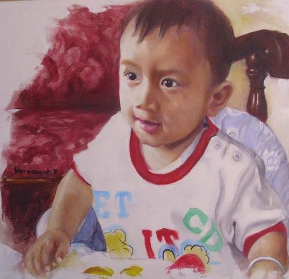 "17 Likes, 1 Comments - Hermansyah Filani (@filani_art) on Instagram: ""My old piece, portrait of my nephew 'Hafi' If I am right I made it in year around 2010. #tbt…"""