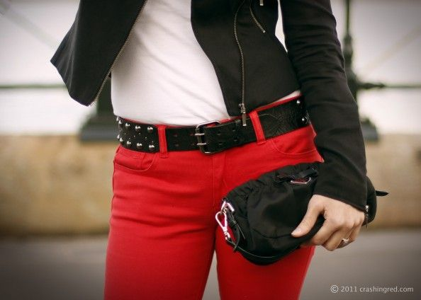 Red jeans! rocker chic