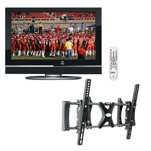 """Pyle Powerful LCD HDTV & Wall Mount Package for Home/Office/Schools/Public -- P32LCD 32"""" Hi-Definition LCD Flat Panel TV + PSW503ST 26"""" To 42"""" Flat Panel Tilted TV Wall Mount."""