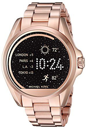 Michael Kors Access Touch Screen Rose Gold Bradshaw Smartwatch MKT5004 - Fully personalize your watch by selecting or customizing the face of your choice and changing the straps to match your activity or look. Stay connected with display notifications including texts, calls, emails. Keep track of your fitness goals by tracking your steps, distance, and calories. With countless options, your watch face & strap adapt to any occasion. Compatible with iPhone & Android devices.(affiliate link)