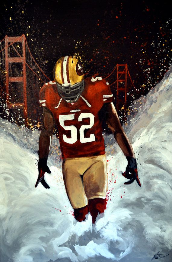 Patrick Willis, San Francisco 49ers. Acrylic Painting 24x36.