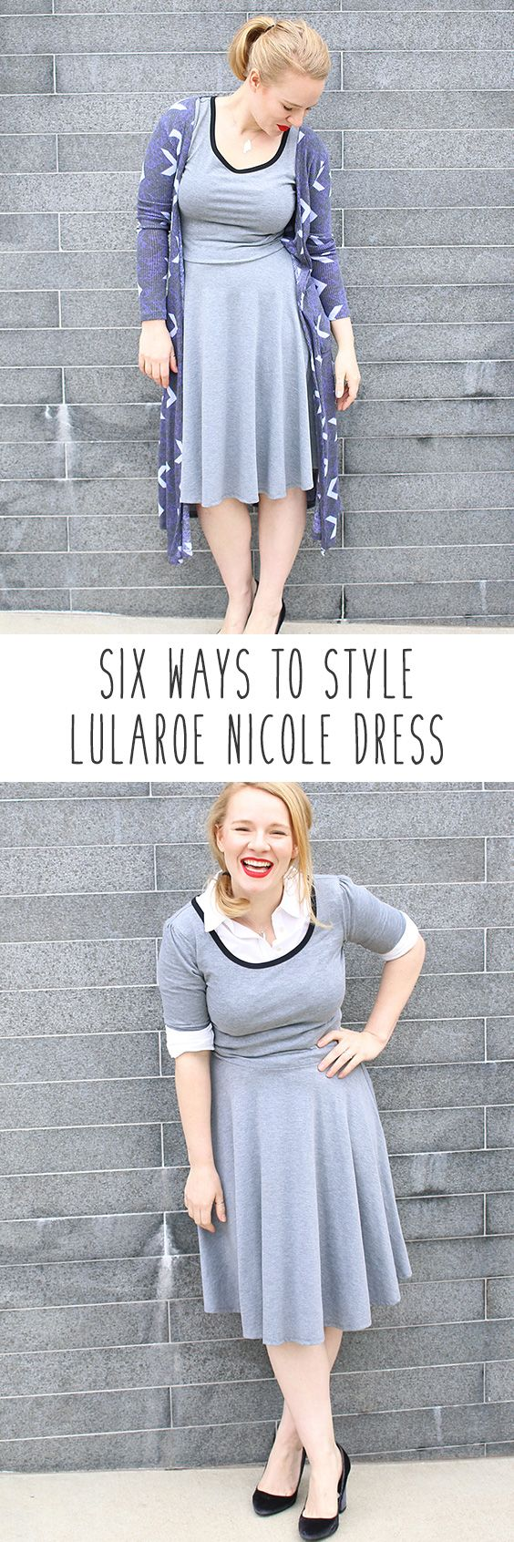How to style Lularoe Nicole Dress! You love the Lularoe Nicole dress but can't figure out how to style it? LuLaRoe Nicole is perfect for work or play!