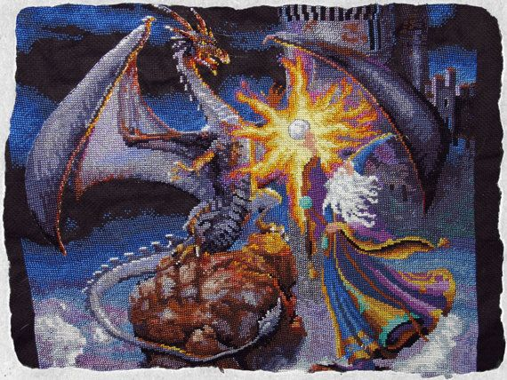Magician and Dragon cross stitch by Nicoinstitches on Etsy, $200.00