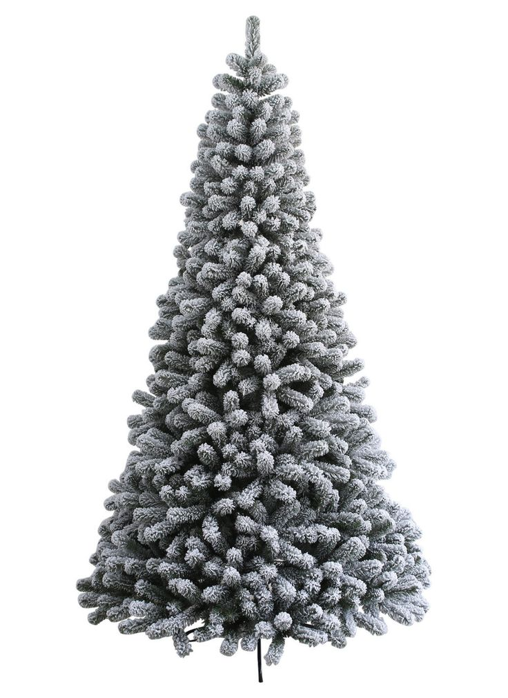 New  Foot Prince Flock Artificial Christmas Tree With Warm White LED Lights