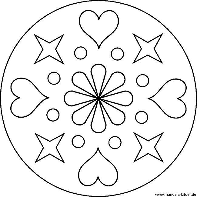 Einfache Mandala Vorlage Mit Herzen Und Sternen Monster