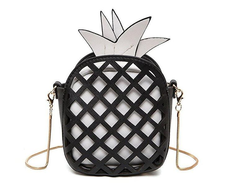 Pineapple Leather Clutch Purse (Black and Yellow)