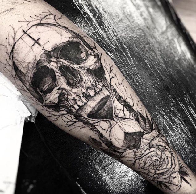 Amazing Skull & Hourglass Tattoo by Freda Oliveira