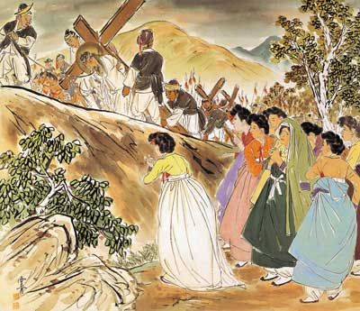 Artist Ki-Chang Kim :  Famous Painting Series 2.   Carrying of the Cross, painted on silk , 1952~1953 #koreanjesus