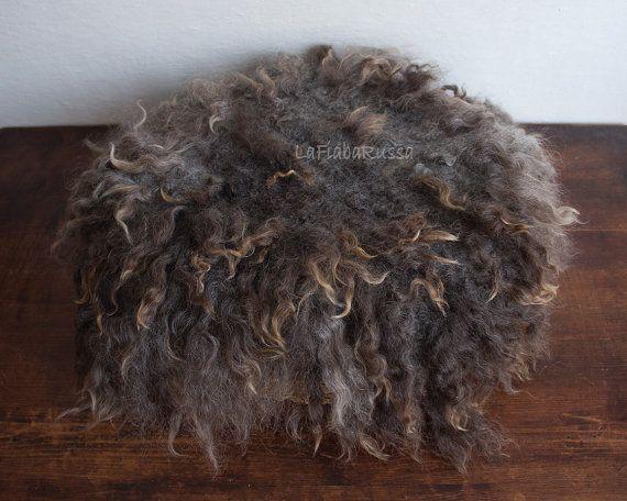 Gray beige wool felted fur newborn rug, flat fur rug, basket filler, wool fluff, NO sheepskin rug, photography baby photo prop