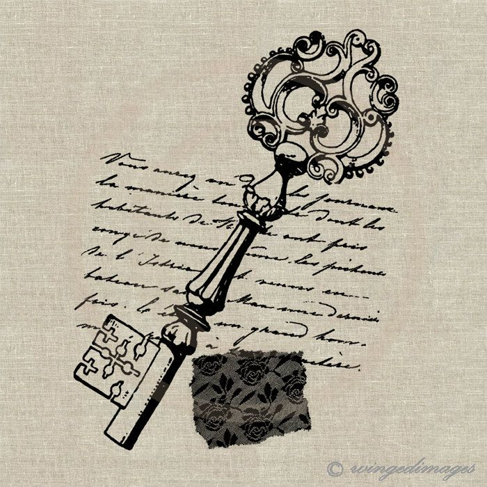 Antique Key, French Letter, Shabby Lace. Image No.82, Digital Download Iron-On Transfer to Fabric (burlap, linen) Paper Prints (cards, tags). $1,00, via Etsy.