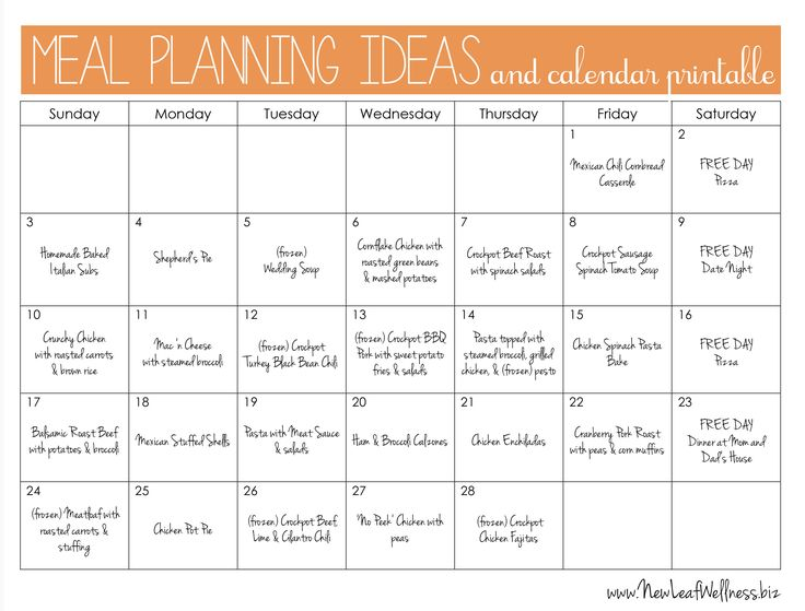 Example monthly meal plan and links to recipes. #mealplanning