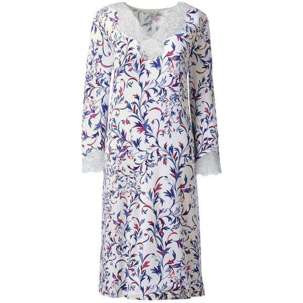 Lands' End Women's 3/4 Sleeve Knee Length Nightgown ($25) ❤ liked on Polyvore featuring intimates, sleepwear, nightgowns, ivory, lands end sleepwear, lands end nightgown and lands' end