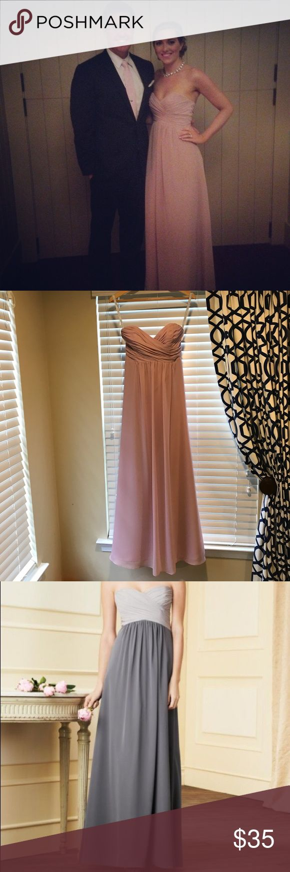 ALFRED ANGELO BRIDESMAIDS 7289L Romantic color Ice Pink long bridesmaid gown with draped sweetheart neckline and shirred skirt. Can also be worn for a black tie wedding, prom, or gala.   52 in total length 27 inches are empire waist (right below bra line). Size 2  Worn one time and dry cleaned after wear. Worn with nude heals. Alfred Angelo Dresses Prom