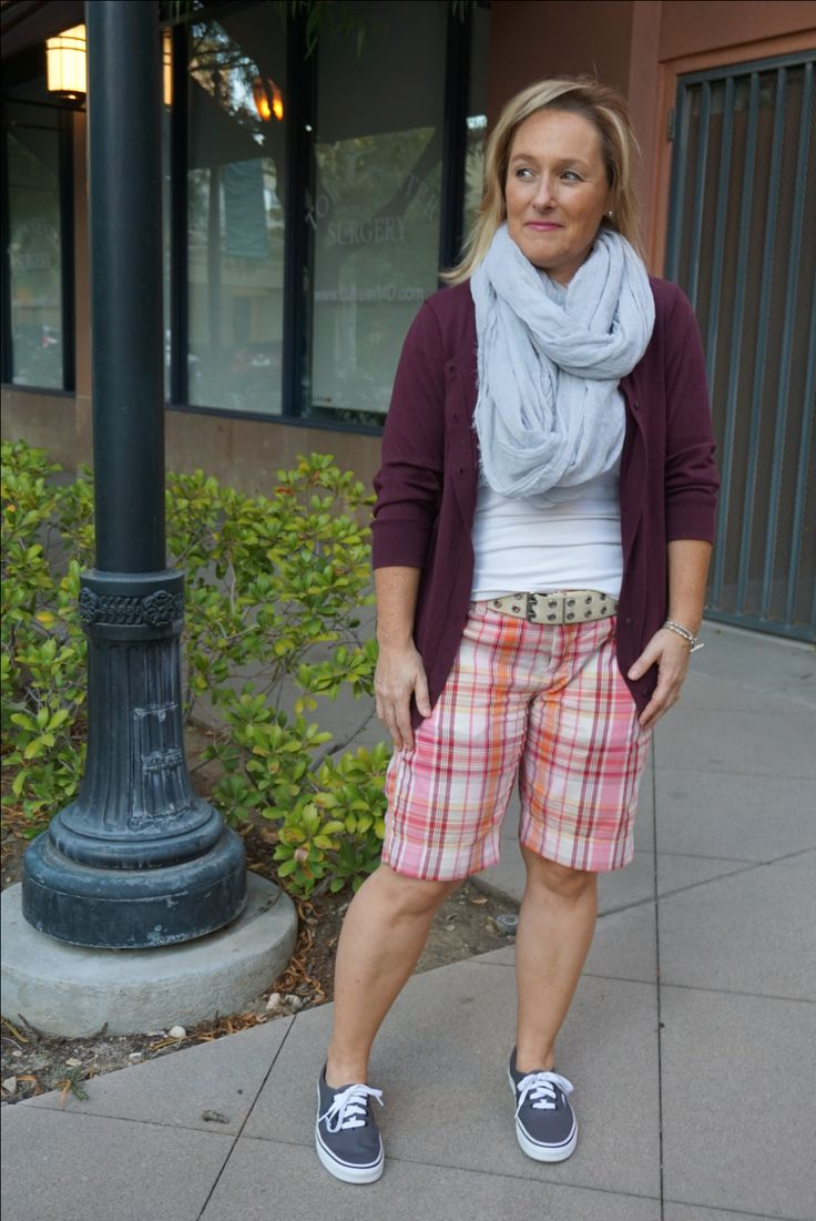 Plaid shorts and grey scarf // fashion over 40 // blog