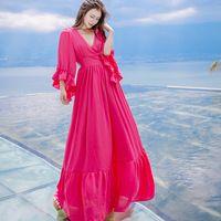 2017 Лето Высокое Качество Розовый макси платья Талии Эластичный Пояс Dress Shirt Beach Resort старинные принцесса Платья для Женщин