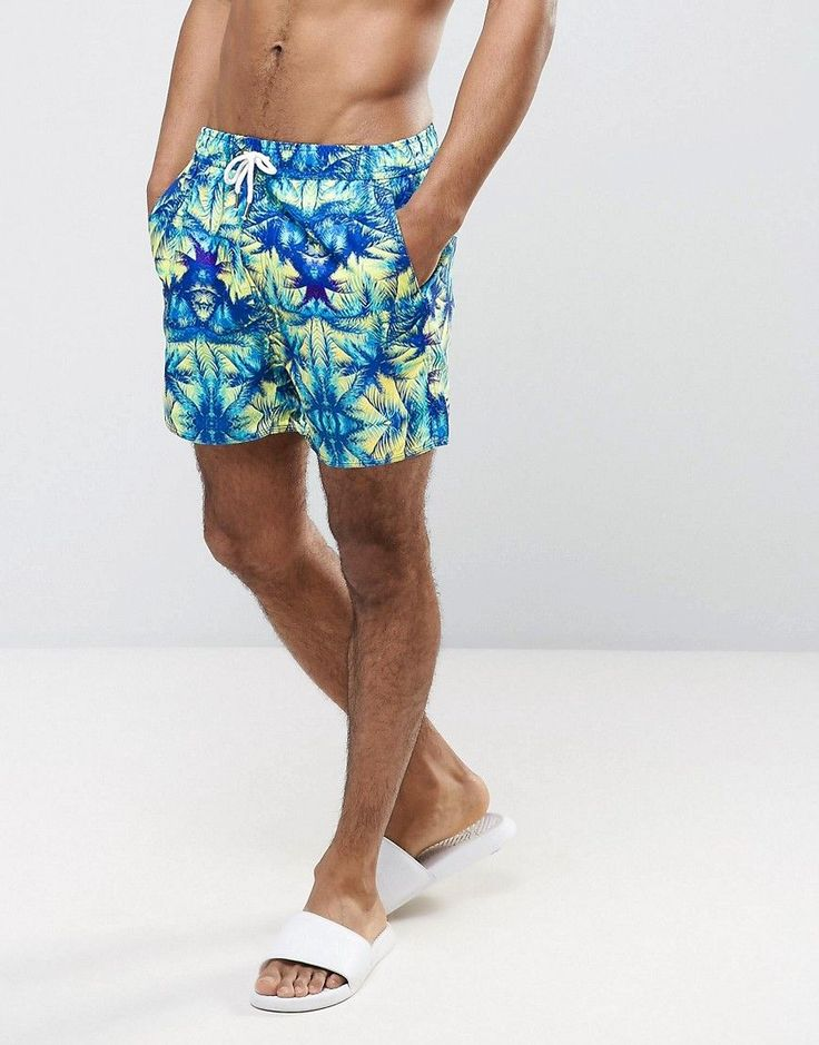 Another Influence Palm Tree Print Swim Shorts - Blue