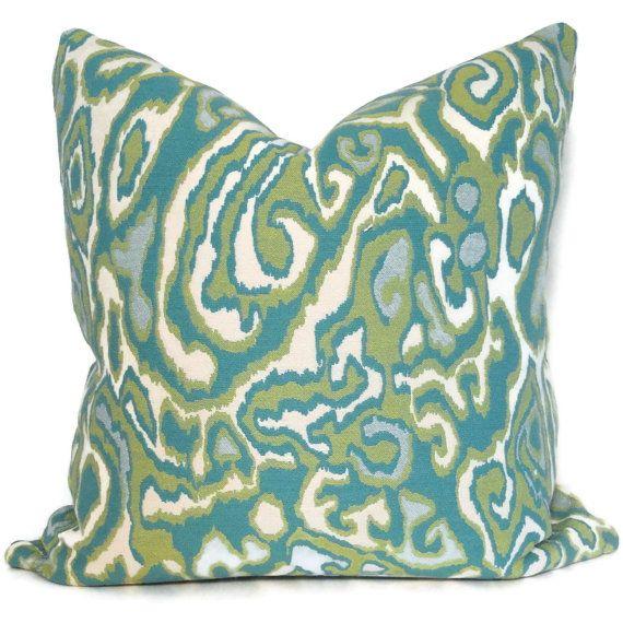 Reversible Green and Aqua Designer Pillow Cover by PopOColor, $35.00