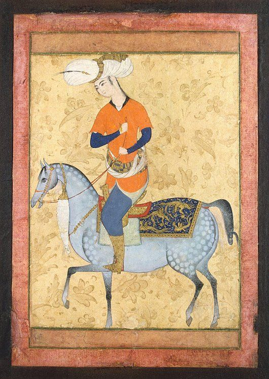 Horseman | Gouache and gold, 13.7 x 10.5 cm | Iran, late 16th century