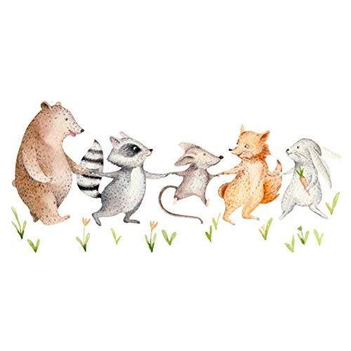 Wandtattoo Kinderzimmer Aquarell Tiere Auf Wiese Bar Waschbar Maus