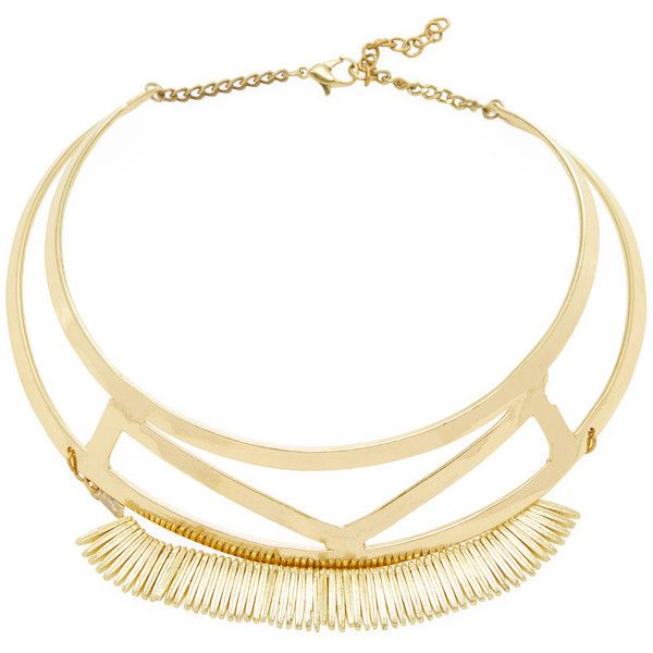Marabelle Women's Lead-Free Statement Necklace - Gold ($29) ❤ liked on Polyvore featuring jewelry, necklaces, gold, gold necklace, yellow gold jewelry, lead free jewelry, bib necklaces and statement necklaces