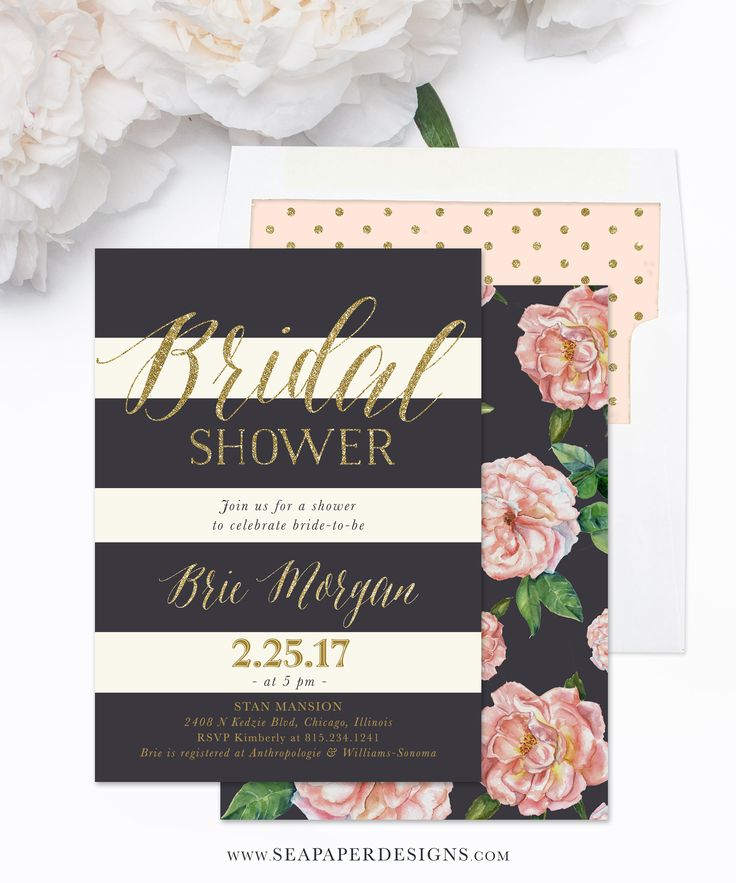 words to write in wedding shower card%0A Brie  Bridal Shower Invitation  Blush Pink Roses  Charcoal Grey  u     Gold