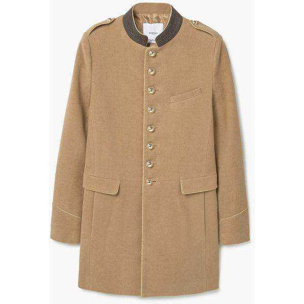 MANGO Military Style Coat ($170) ❤ liked on Polyvore featuring outerwear, coats, long sleeve coat, mango coat, cotton coat, fur-lined coats and military style coat