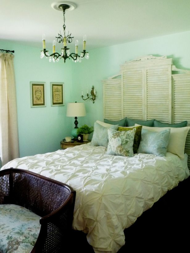 wall color and shutter headboard