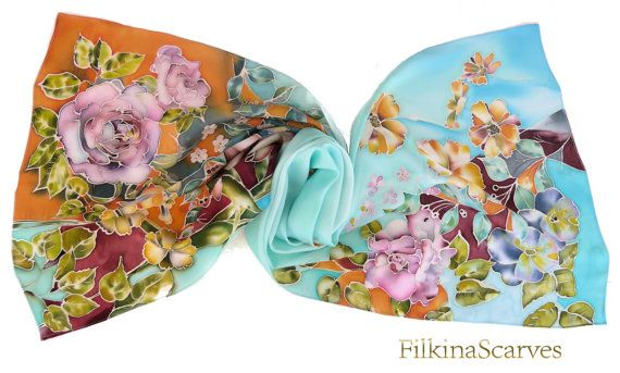 #Silk #Satin #Scarf #HandPainted #Flowersscarf #Batik #SilkPainting #Gift for Her #Artscarf #Birthday #Handmade #silk #scarves #Rose #Lilies #leaf #Art Why not #Boho Chic? This hand-painted silk satin scarf will bring you great mood and individual accent in your clothing HANDPAINTED SILK SATIN long SCARF - 100% Silk