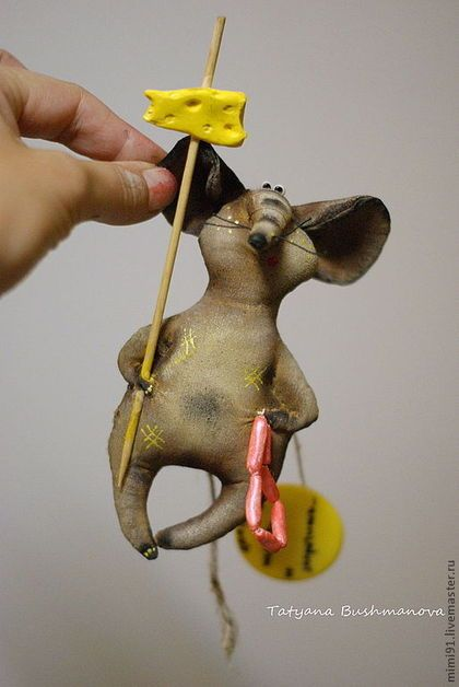 """Мышь холодильниковая """"Живу я тут"""" - мышь,сувенир,смешной подарок,магнит на холодильник"""