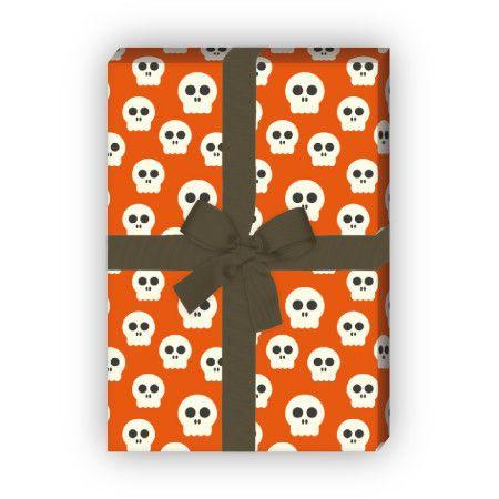 Gruseliges Halloween Geschenkpapier mit Totenköpfen (4 Bögen, 32 x 47,5 cm), auf orange rot 1