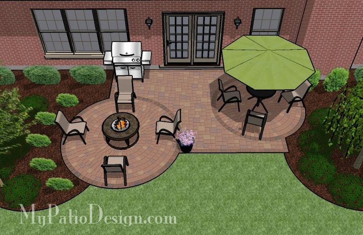 Square patio with 2 circle paver kits patio design for Small patio design plans