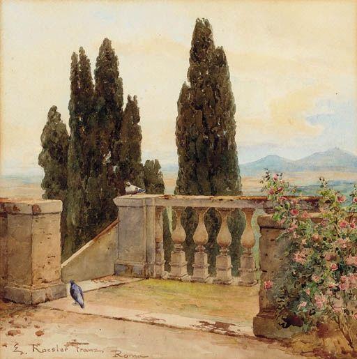 Ettore Roesler Franz, On the terrace at the Villa D'Este, Tivoli