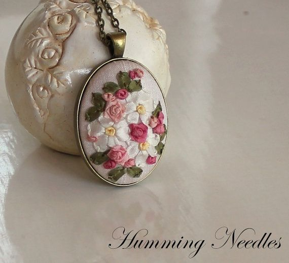 ribbon embroidery pendant