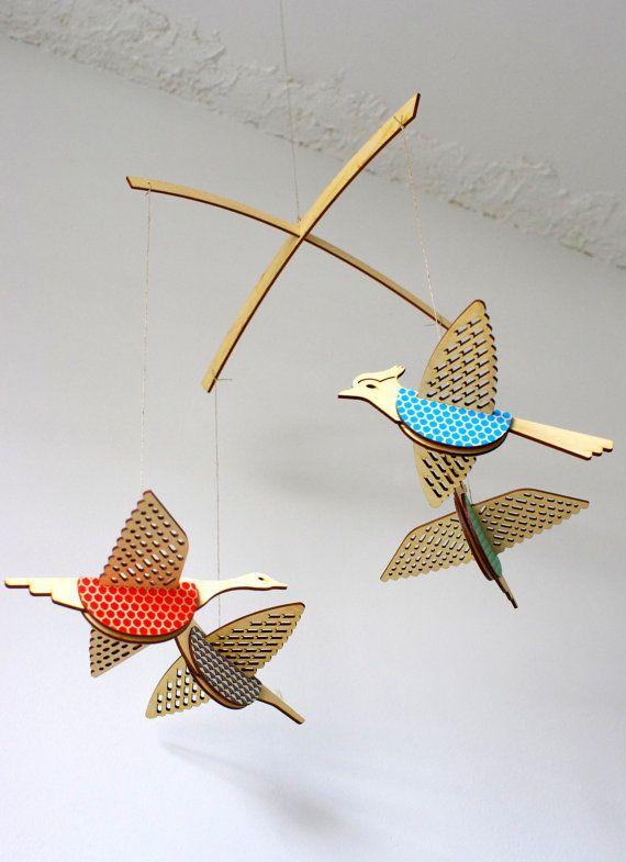Bird Themed Nursery, Unique Lasercut Wood Mobile, Gender Neutral Crib Mobile.