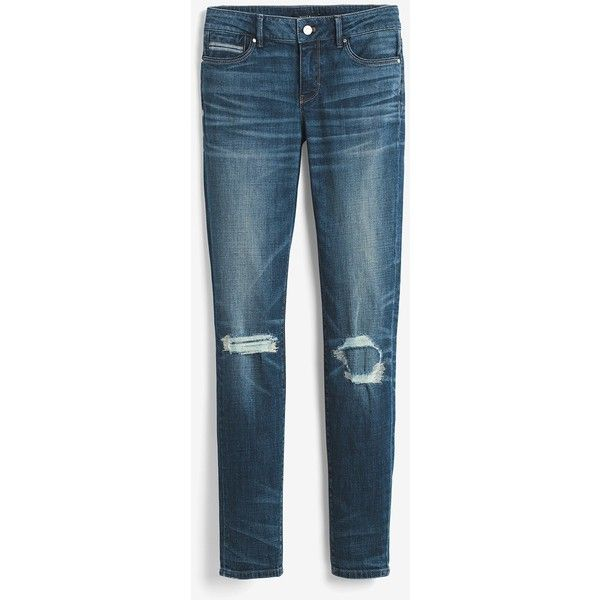 White House Black Market Distressed Skinny Jeans ($89) ❤ liked on Polyvore featuring jeans, pants, blue ripped jeans, petite jeans, petite skinny jeans, short jeans and destructed skinny jeans