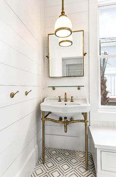 Unlacquered Brass Washstand. Bathroom with shiplap walls, Yildiz marble mosaic floor tile and Unlacquered Brass Washstand by Waterworks #UnlacqueredBrassWashstand #BrassWashstand #Washstand Robyn Hogan Home Design