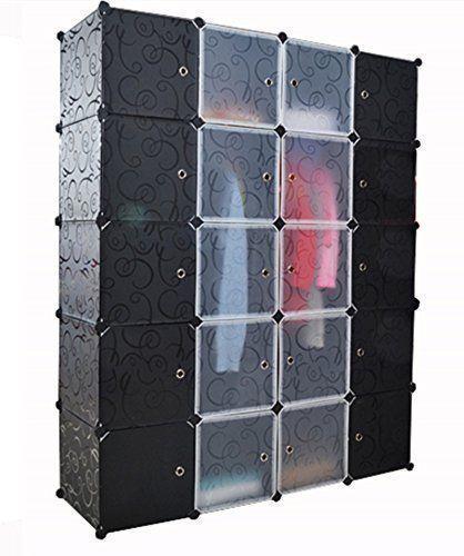Wardrobe Closet Portable Wardrobe Armoire Storage Cabinet 20 Cube Organizer DIY  | eBay